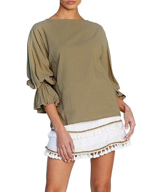 Primavera y Otoño Mujeres Tops Casual Colores Lisos T-Shirt Blusa Remata Tees Jumpers Camisa