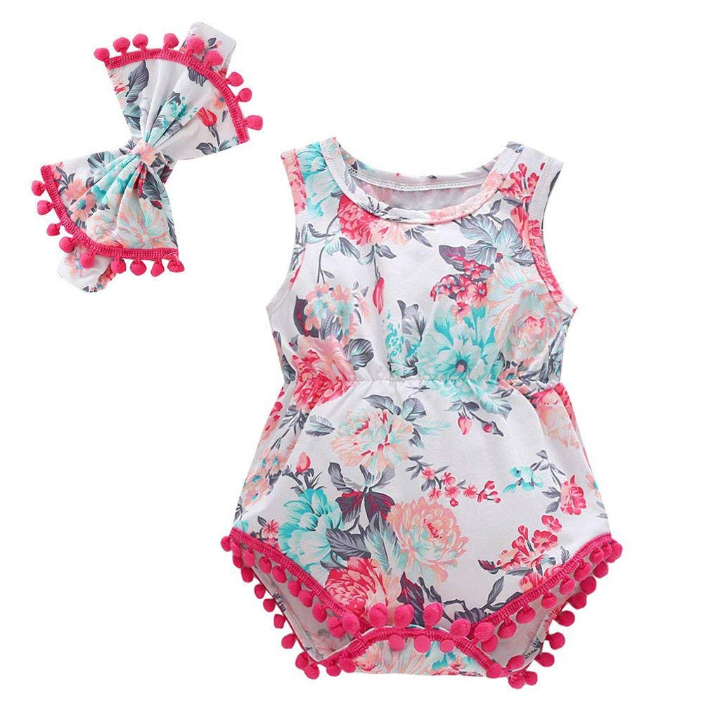 HANANei 0M-18M Baby Romper Newborn Infant Baby Girl Boy Floral Tassels Romper Bodysuit Headband Outfits Set (3-6 M, Hot Pink)