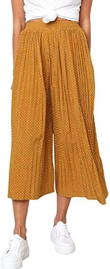 Memories Love Womens Pockets High Waisted Pleated Polka Dot Wide Leg Pants