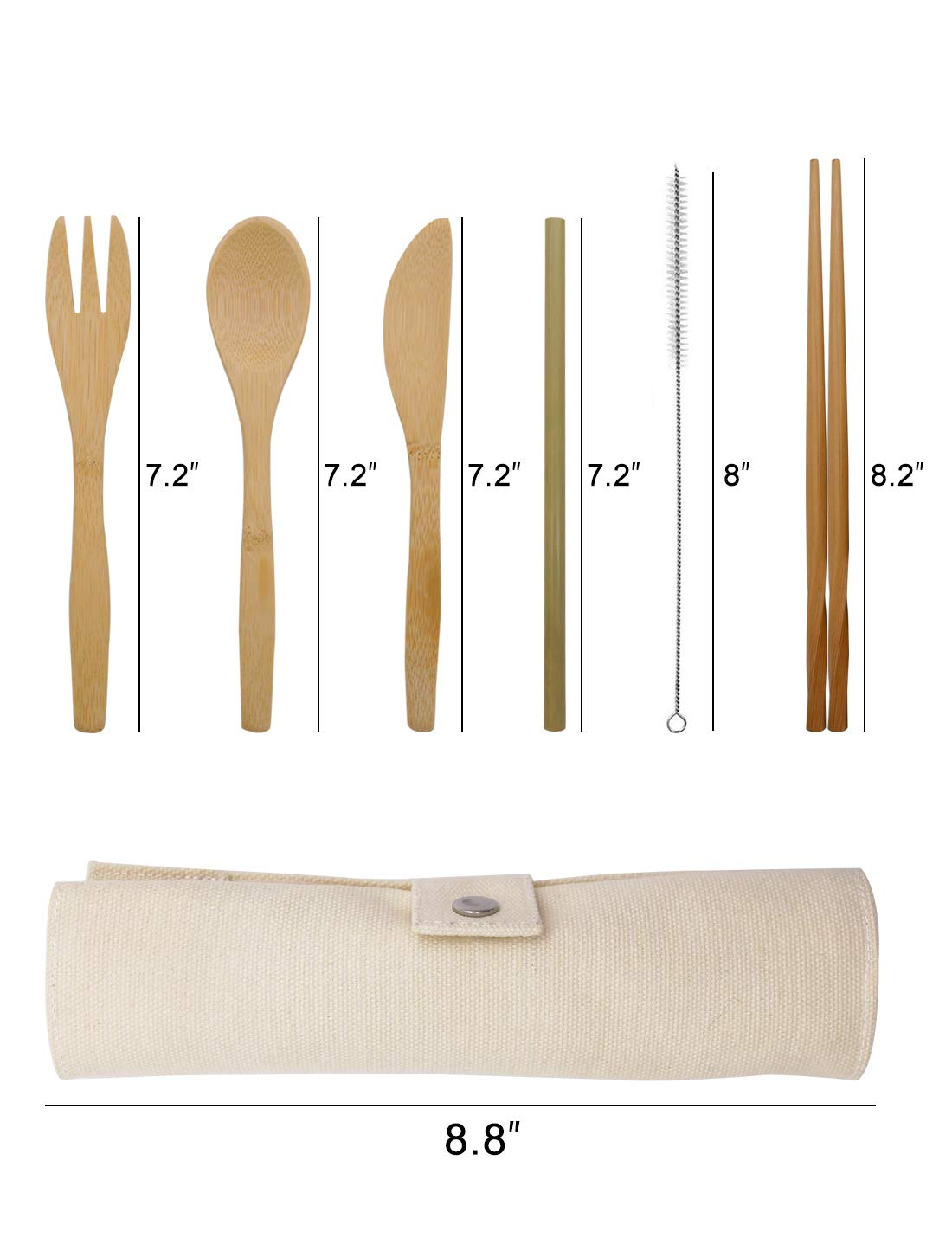 Bamboo Cutlery Set, Travel Cutlery Set Eco Friendly Flatware Set Camping Cutlery Set with Travel Pouch Knife Fork Spoon and Chopsticks Straw by HansGo