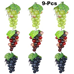Outgeek Artificial Grapes, Artificial Grapes Mini Grape Clusters Rubber Fake Grape Bundles Decorative Grapes Hanging Ornaments for Vintage Wedding Favor Fruit Wine Decor Faux Fruit Props
