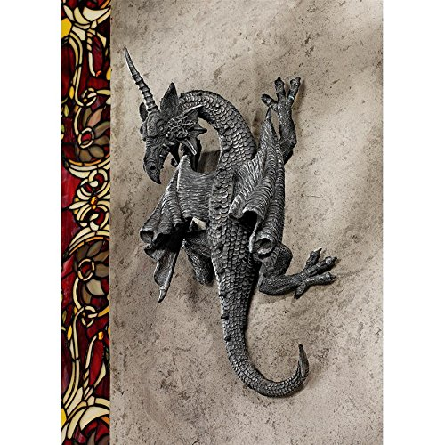 (Design Toscano Horned Dragon of Devonshire Wall Sculpture, 13 Inch, Polyresin, Grey)