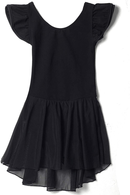 Mdnmd Girls Flutter Sleeve Dress Leotard 2 4 Toddler Black