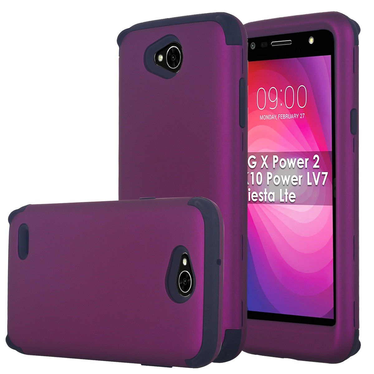 LG X Power 2 Case, LG Fiesta LTE Case, LG K10 Power Case, LG X Charge Case Shockproof Hybrid Hard Plastic + Flexible TPU Armor Impact Case for LG X Power 2/LG LV7/LG Fiesta 2 LTE, Purple/Black