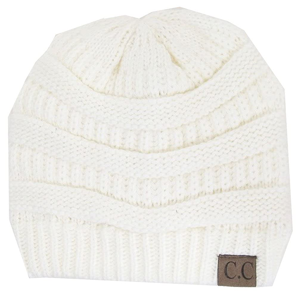 2dbebd5434d Amazon.com  Knit Cc Beanie in Ivory  Clothing