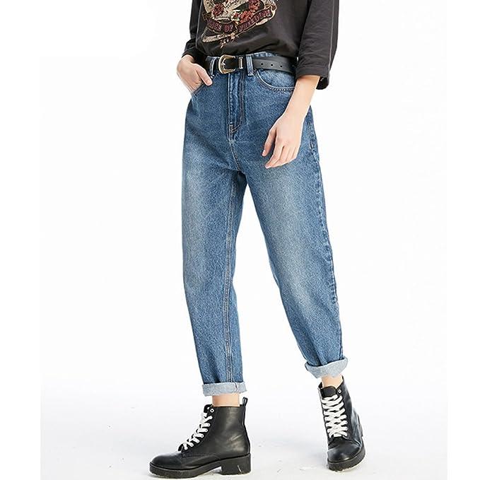 aac640efd7a1 ZhiYuanAN Femme Boyfriend Jean Grande Taille Pantalon Baggy Denim Mode  Pantalons De Carotte  Amazon.fr  Vêtements et accessoires