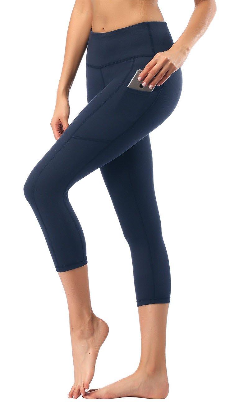 Chofi Damen Hohe Taille Zugeschnitten Yoga Hose mit Seitentaschen & Innentasche
