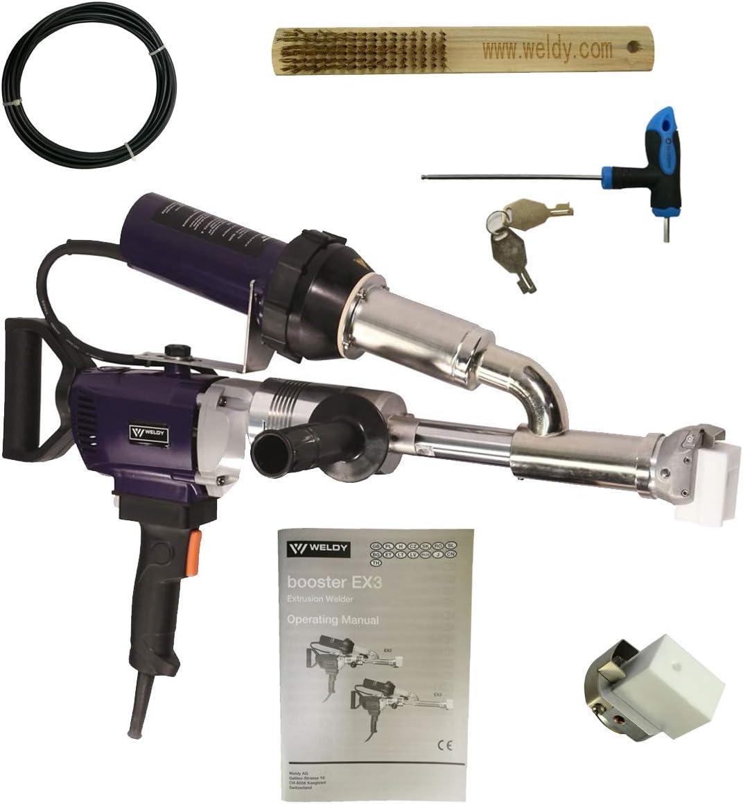 WELDY Handheld Plastic Extrusion Welding Machine Kit Hot Air Plastic Welder Gun Vinyl Weld Extruder Welder Machine Booster EX3