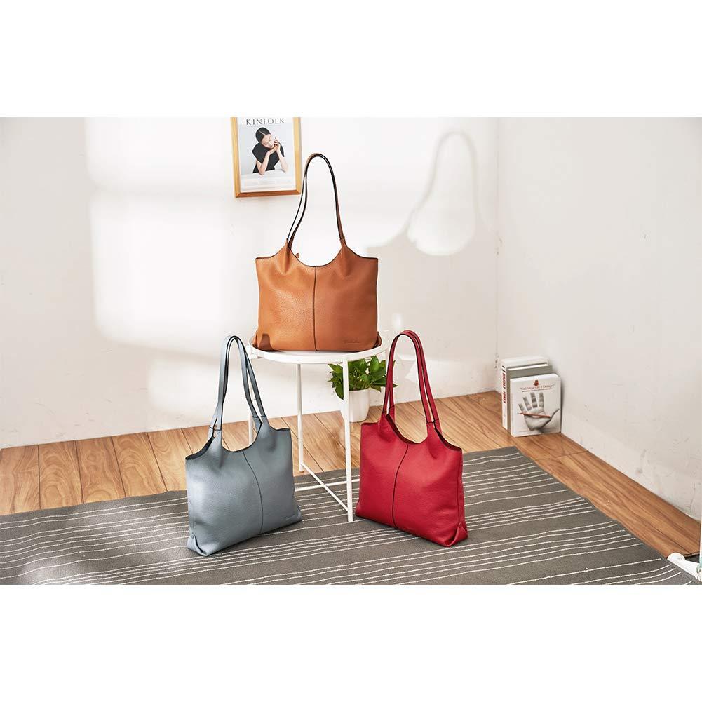 d1144852479a BOSTANTEN Women Designer Shoulder Tote Handbag Soft Genuine Leather  Top-handle Purses