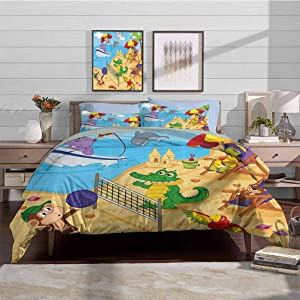 Duvet Cover Set Kids Boys Duvet Cover Set Cartoon Style Animals Playing on Beach Monkey Hippo Dolphin Exotic Summer Illustration Decorative 3 Piece Bedding Set with 2 Pillow Shams, Twin Size