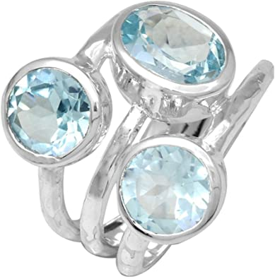 Blue Topaz Blue Gems Silver Ring Jewellery 925 Sterling Silver Excellent Natural Blue Ring