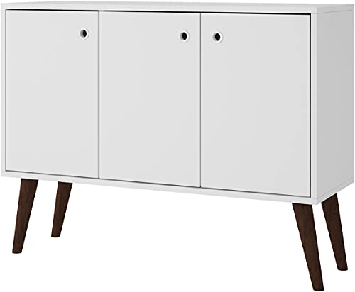 ModHaus Living Mid Century Modern Sideboard TV Stand with e Shelves 2 Doors and Solid Wood Splayed Legs – Includes Pen White