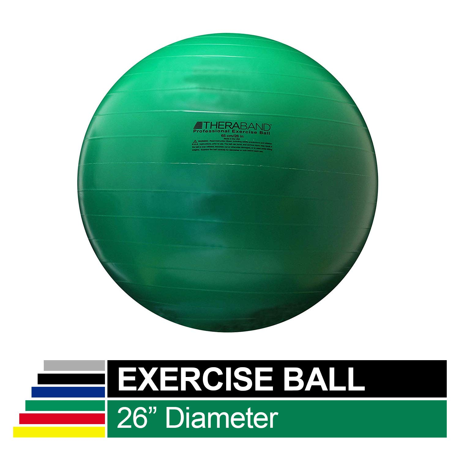 "B0000534W2 TheraBand Exercise Ball, Stability Ball with 65 cm Diameter for Athletes 5'7"" to 6'1"" Tall, Standard Fitness Ball for Posture, Balance, Yoga, Pilates, Core, Rehab, Green 61AQS4a8VvL"