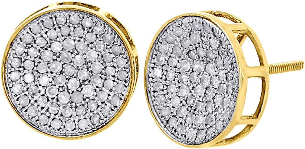 White Gold Finish Mens Ladies 7mm Round Diamond 3D Cube Studs Earrings 1//3 ct