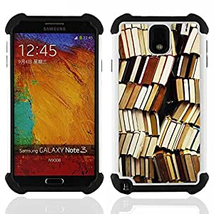For Samsung Galaxy Note3 N9000 N9008V N9009 - book library reading teacher school Dual Layer caso de Shell HUELGA Impacto pata de cabra con im????genes gr????ficas Steam - Funny Shop -