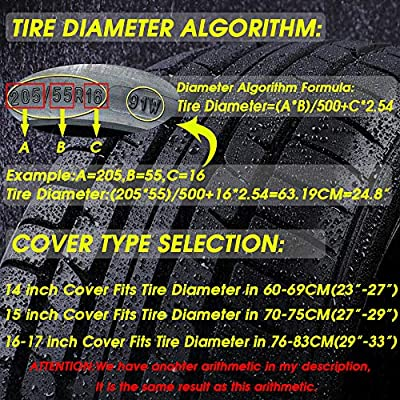 """YANKING Spare Tire Cover, Universal Fit for Jeep, Trailer, RV, SUV, Truck,Black Waterproof Soft PVC Tire Covers with Anti-Lost Rope (16-17 inch for Diameter 29""""-33""""): Automotive"""
