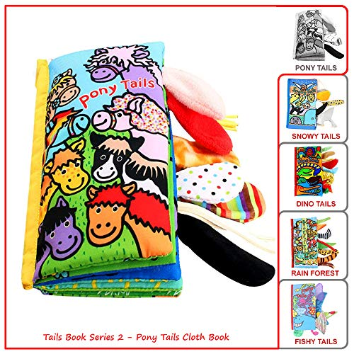 Animal Fabric Cloth Book,Tails Book Pony,Soft Activity Crinkle Books and Toys Early Education for Babies Infants,Toddlers,Kids, Funny Farm Animals,Pony,Horse,Baby Books,for Boys &Girls