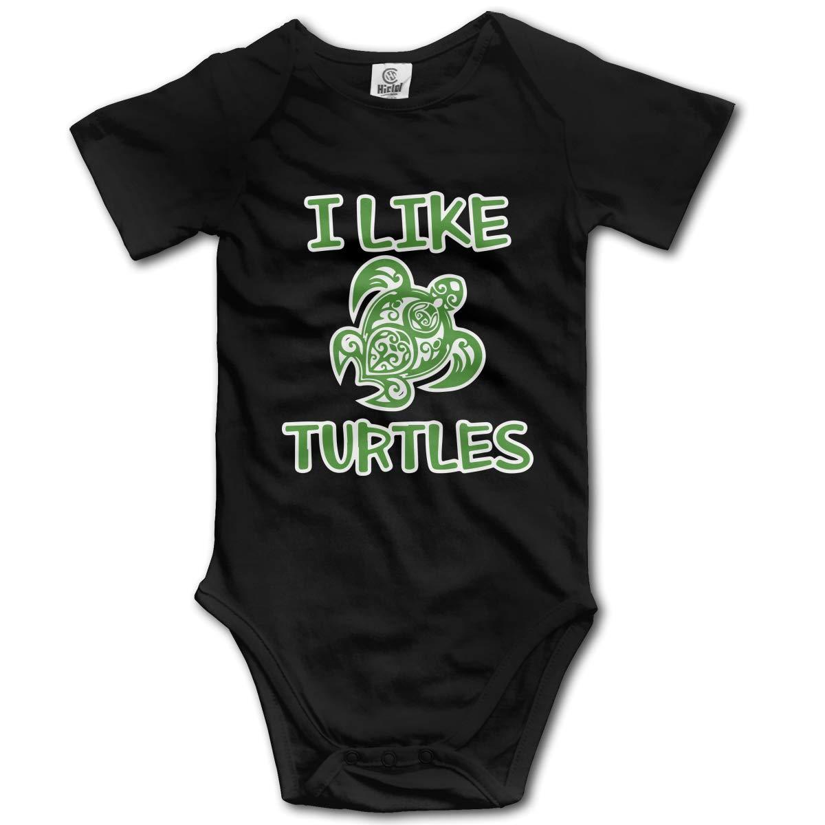 I Like Turtles Unisex Solid Baby Short Sleeve Romper Jumpsuit 0-24M