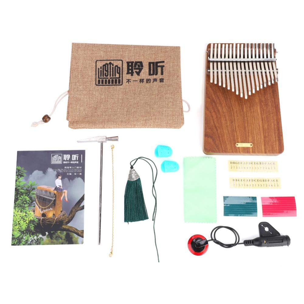 17 keys Kalimba Thumb Piano kit,Portable Thumb Piano Pterocarpus Erinaceus Wooden Body with Tuning Hammer,Pickup,Decorative Tassel Chain,Tremolo chain,Carry Bag by Yosoo- (Image #9)