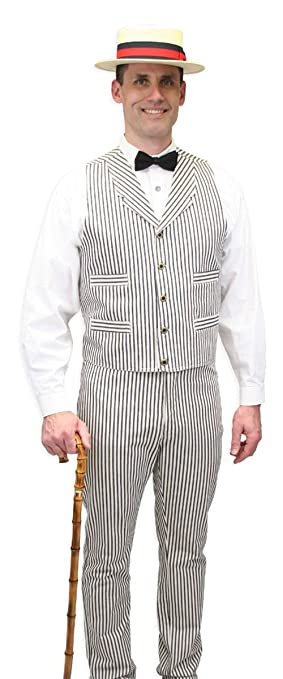 Men's Steampunk Costume Essentials Cotton Striped Dress Vest $59.95 AT vintagedancer.com