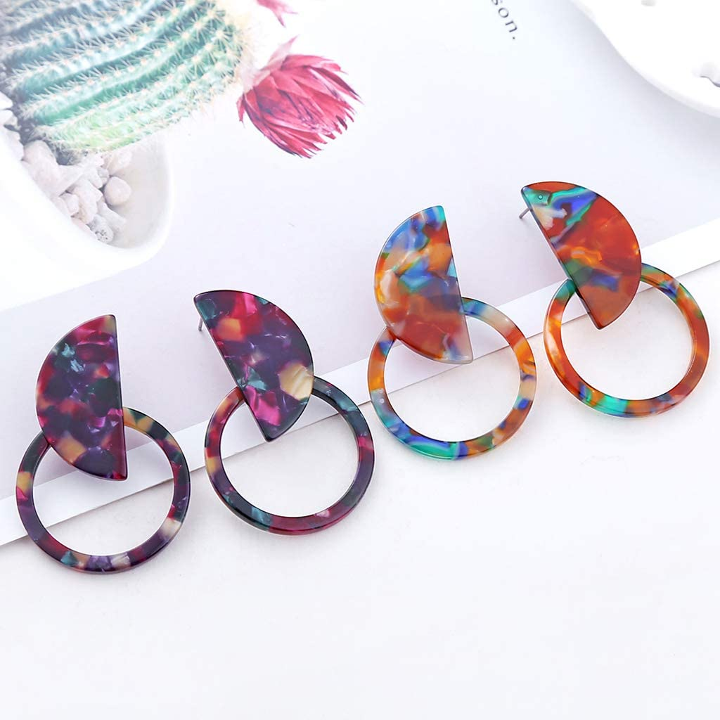 YiFeiCT Cercle Tachet/é Cerceau R/ésine Acrylique D/éclaration Boucles Doreilles Femmes Bijoux De Mode
