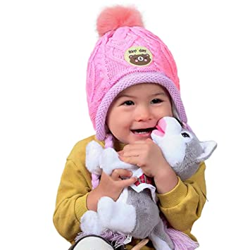 f0ce863eb609f Image Unavailable. Image not available for. Color  Longay Infant Baby Kid  Beanie Girl Cap Cotton Knitted Ball Warm Earmuffs Children Hats ...