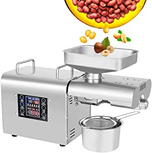 CGOLDENWALL Oil Press Machine Oil Presser Hot Cold Oil Extractor Expeller Intelligent Control Panel/LCD Touch Screen/Food Grade Stainless Steel/Built-in Thrust Bearing (110V US Plug)