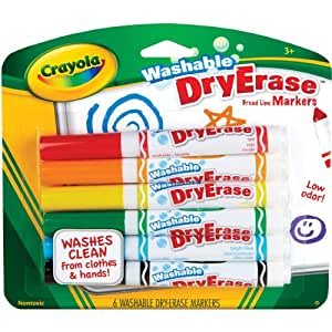 Crayola; Washable Dry-Erase Markers; Art Tools; 6 ct.; Broad Line; Easy Erase; Bright, Bold Colors