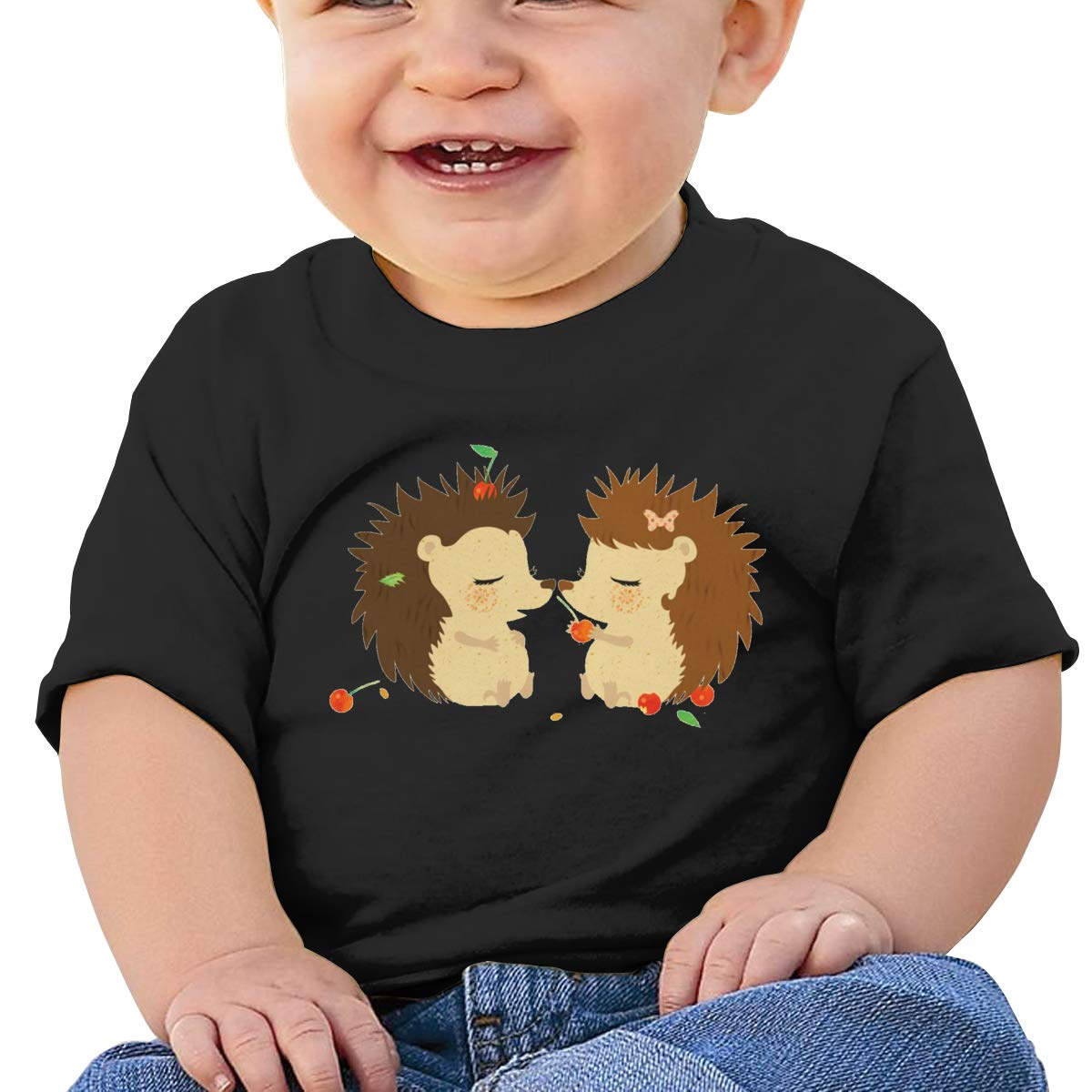 ShenigonHedgehog Love Toddler//Infant Short Sleeve Cotton T Shirts Black