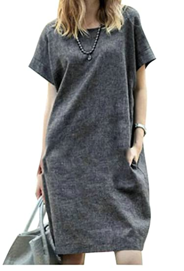 a4074c19af ARTFFEL-Women Plus Size Summer Short Sleeve Solid OL Work Cotton Linen  A-Line