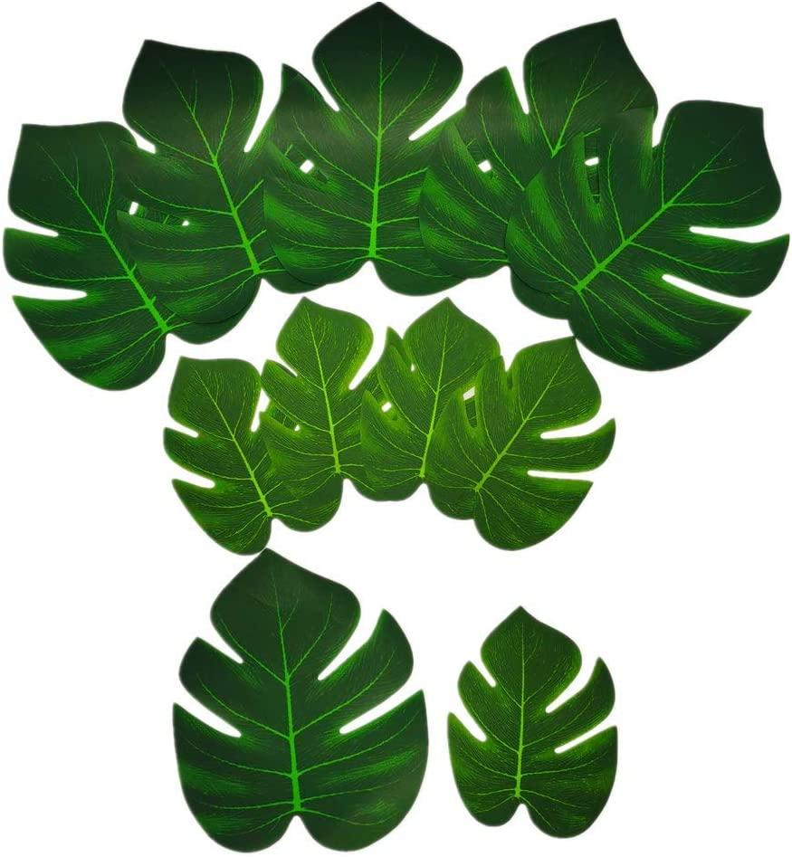 Artificial Palm Leaves 36pcs Fake Large Green Leaf,Faux Monstera Leaves Tropical Faux Leaves for Safari Jungle Hawaiian Luau Party Table Decoration Wedding Birthday Theme Party