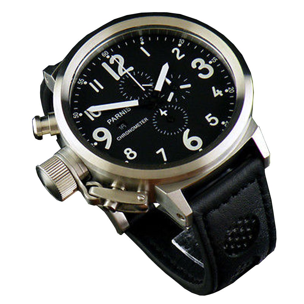 50mm Fanmis Black Dial Big Face White Number Watch Full Chronograph Quartz Black Leather Strap Watch