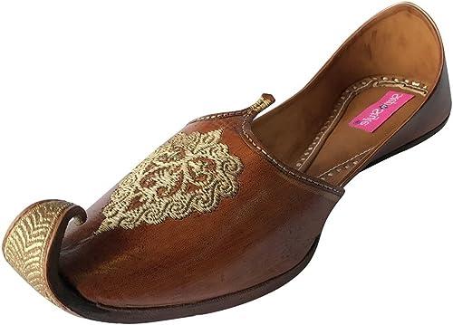 Step n Style Men Vintage Look Handmade Leather Khussa Shoes Indian Aladdin Juttis