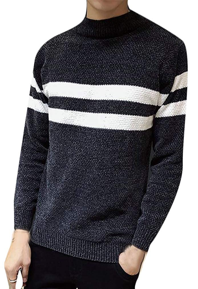 Cromoncent Mens Knitted Crewneck 加厚休闲 Striped Pullover Jumper Sweaters