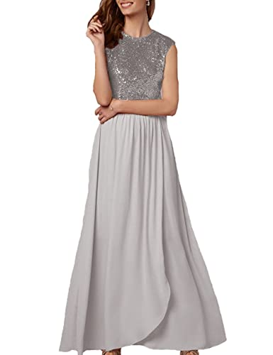 Cdress Long Bridesmaid Dresses Chiffon Sequins Maxi Prom Evening Dress Wedding Formal Gowns at Amazon Womens Clothing store: