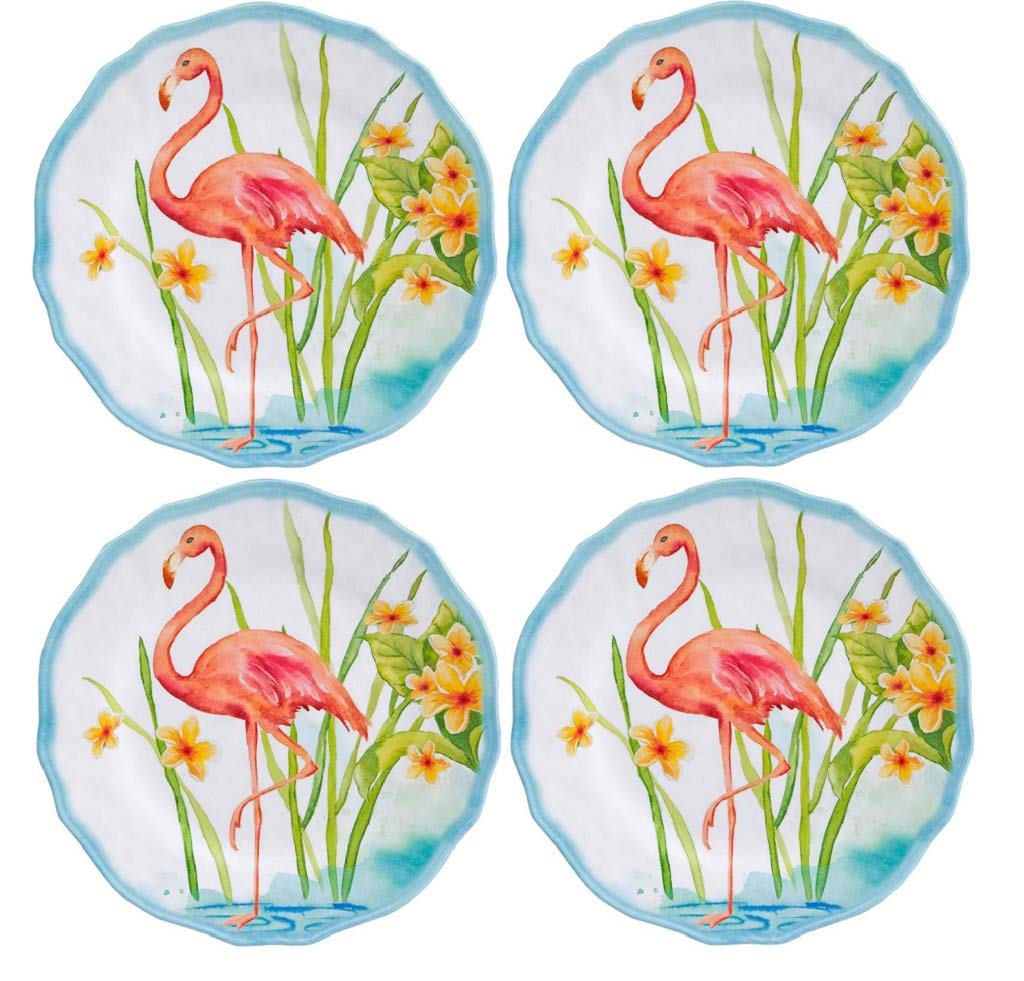 4 Tropical Melamine Plates 8.8 Inches in Diameter