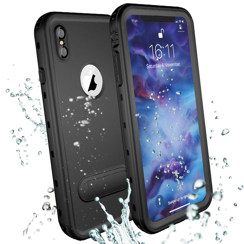 the latest fdd50 9b621 IP68 Waterproof Phone Case for iPhone Xs Max Black,Underwater Swimming  Shockproof Cover Built-in Screen Protector Full-Body Protective Cover for  Apple ...