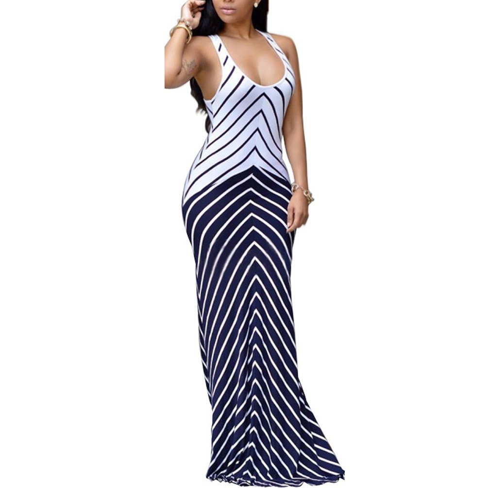 895fc9c75c Design: Sleeveless tank top,V neck,Striped stretchy maxi dress. Style:  flattering and comfortable fit long summer beach dress.