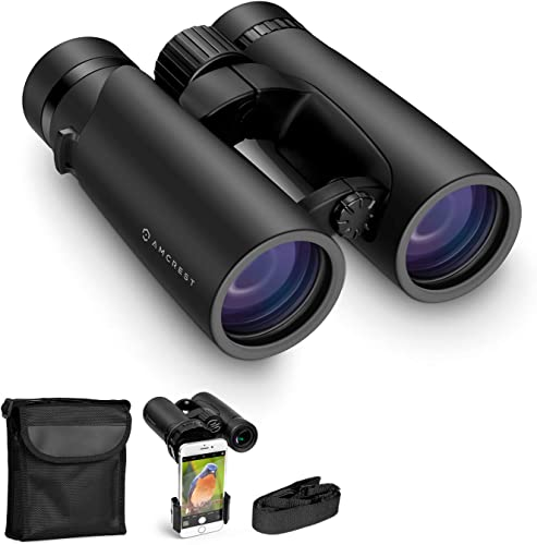 Amcrest 10×42 Roof Prism Binoculars for Adults, HD Professional Binoculars for Bird Watching, Travel, Stargazing, Hunting, Concerts, Sports, BAK-4 Prisms, Smart Phone Adaptor for Photography