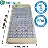 5 In 1 Pain Relief Therapy - Infrared Heating Mat (Firm-Full-Body 72'' x 24'') PEMF - Photon Red Light - Negative Ions - Hot Healing Gemstones - No EMF, FDA, 1-Year Warranty