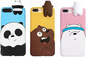 Aikeduo for iPhone 6plus case 3D Cartoon Animals Cute We Bare Bears Soft Silicone Case Cover Skin 3pcs Sell for iPhone 6plus /6splus 5.5 inch case (iPhone6plus/6s Plus)
