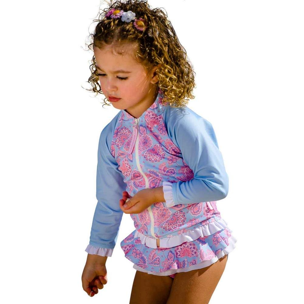 Sun Emporium Little Girls Sky Blue Pink Siena Print Zip Jacket Nappy Set 2 by Sun Emporium