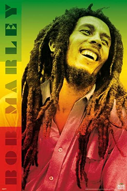 Bob Marley Rasta Colors Dreads Smile Jamaican Reggae Music Icon Poster 24x36 inch
