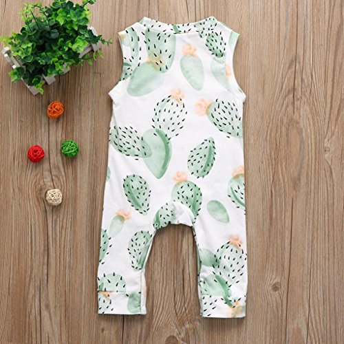 Kintaz Baby Romper, Spring Summer Baby Boys Toddlers Sleeveless Floral Cactus Print Romper Jumpsuit Outfit