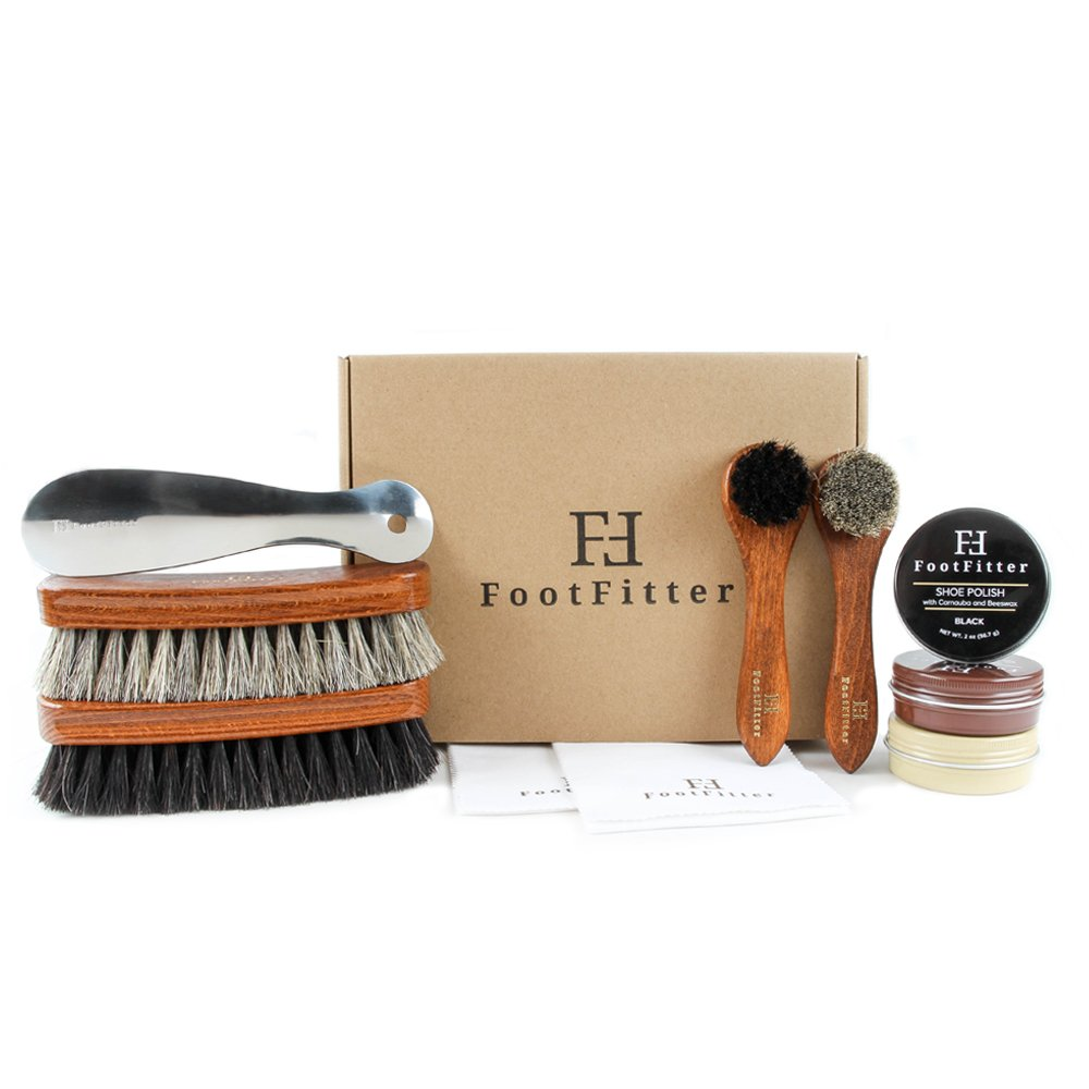 FootFitter Shoe Shine Valet Refill Set - 100% Horsehair Brushes, Shoe Polish, Shoe Horn, Microfiber Shine Cloths!
