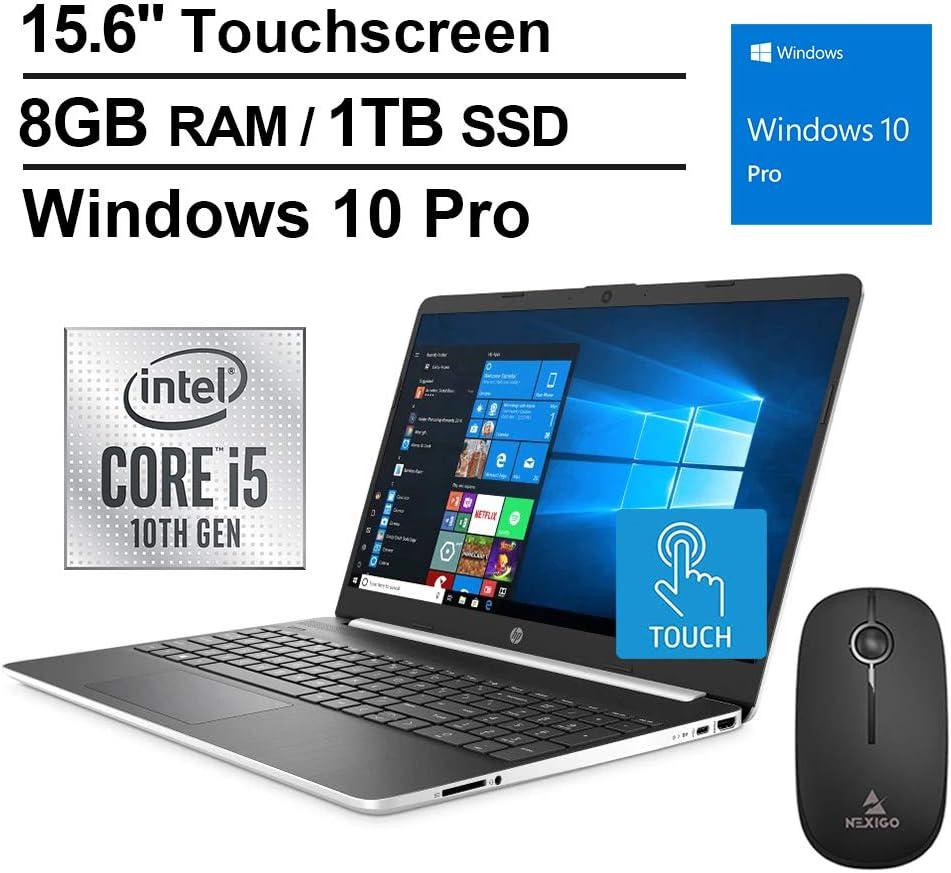 2020 HP Pavilion 15.6 Inch Touchscreen Laptop (Intel 4-Core i5-1035G1 (Beats i7-7500U), 8GB DDR4 RAM, 1TB SSD, WiFi, Bluetooth, Webcam, Windows 10 Professional) + NexiGo Wireless Mouse Bundle