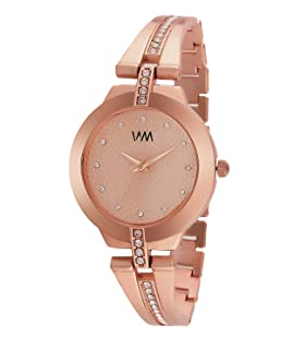 WM Rose Gold Dial Rose Gold Stainless Steel Strap Watch for Women and Girlsmuaeon