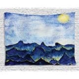 Ambesonne Apartment Decor Collection, Hills under Fairy Cloudy Sky with the Reflection of Moon Light Vivid Landscape Paint, Bedroom Living Room Dorm Wall Hanging Tapestry, 80 X 60 Inches, Yellow Blue