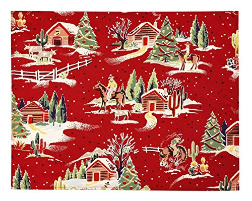 Christmas Placemats Table Decorations Table Linens Rustic Christmas Decor Fabric Red Set 4