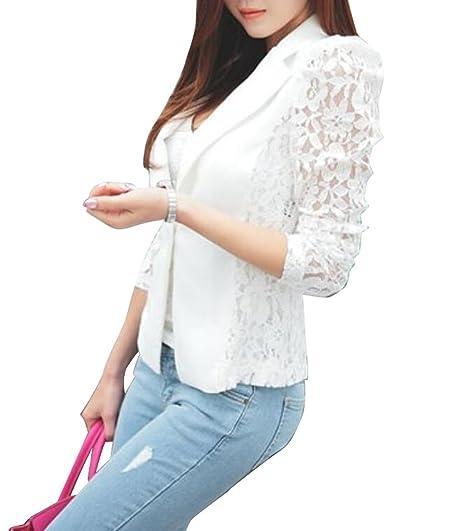 9395620002ae Zago Women Summer Lace Long Sleeve One Button Short Blazer Jacket White XS